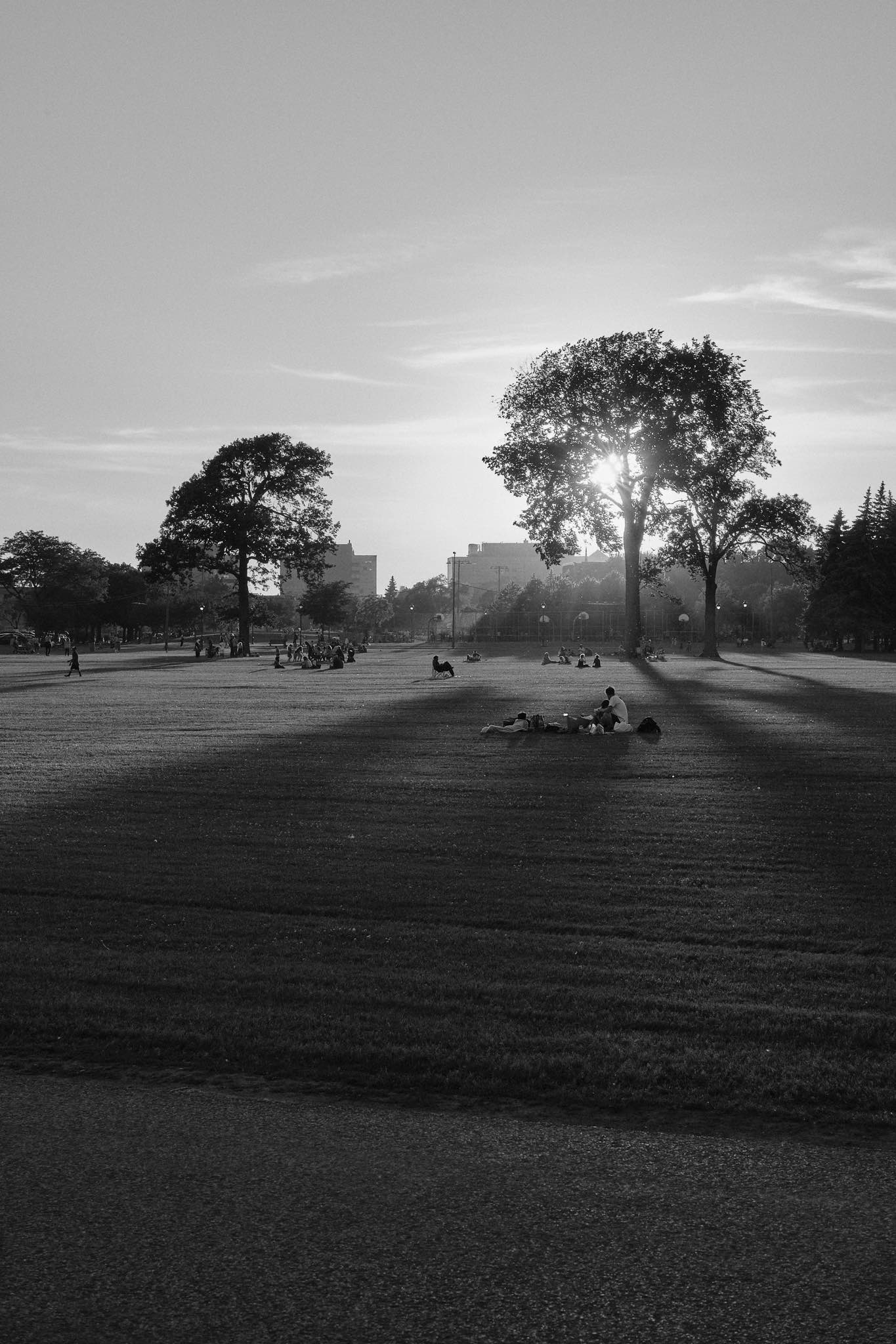 The sun sets over Parc Jarry - black and white