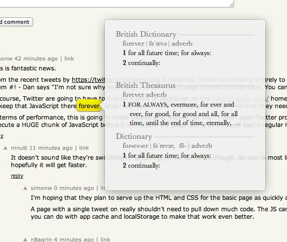 OS X uses them for dictionary definitions