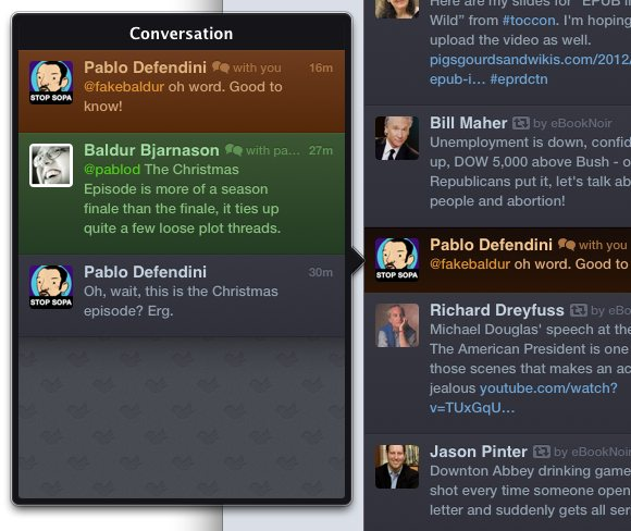 Twitterific uses explanatory windows for conversations